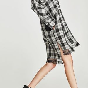 Zara Dresses - Zara checked shirt dress lace details